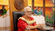 This picture released by the Samoa Observer on July 27, 2021 shows Samoa's new Prime Minister Fiame Naomi Mata'afa holding her…