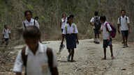 Students in O'of village in West Timor, Indonesia