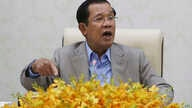 Cambodia's Prime Minister Hun Sen gestures during a speech on the current state of a new virus from China in Phnom Penh,…