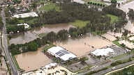 This image from a video, shows flooded fields on Gold Coast, Australia Saturday, Jan. 18, 2020. Heavy rain lashed parts of…