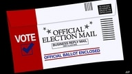 Mail-in voting ballot return envelope, drawing, graphic element on black