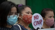 Thai anti-government protesters gather in front of the Royal Thai Army Headquarters in Bangkok, Thailand, Monday, July 20, 2020…