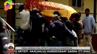 In this image taken from OBN video, the coffin of Ethiopia singer Hachalu Hundessa is carried during the funeral in Ambo,…