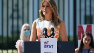 In this photo from Monday, Aug. 24, 2020, first lady Melania Trump speaks at an event celebrating the 100th anniversary of the…