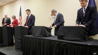 Senate candidates prepare for a GOP senatorial debate In Manhattan, Kan., Saturday, May 23, 2020. David Lindstrom, left, Susan…