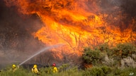Firefighters battle the Apple Fire in Banning, Calif., Sunday, Aug. 2, 2020. (AP Photo/Ringo H.W. Chiu)