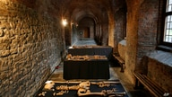 In this Wednesday, March 26, 2014 photo, some of the skeletons found by construction workers under central London's…