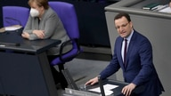 File - In this Wednesday, Jan. 13, 2021 file photo German Chancellor Angela Merkel listen to German Health Minister Jens Spahn…