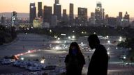 Visitors wear masks at a lookout point over at a COVID-19 vaccination site at Dodger Stadium Friday, Jan. 15, 2021, in Los…