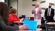 First lady Jill Biden and Education Secretary Miguel Cardona tour Fort LeBoeuf Middle School in Waterford, Pa., Wednesday,…