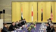 U.S. Secretary of State Mike Pompeo, second left, speaks to Japan Foreign Minister Toshimitsu Motegi, second right, India…