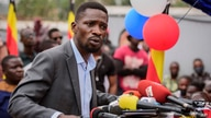 Ugandan opposition figure Bobi Wine, whose real name is Kyagulanyi Ssentamu, speaks at a press conference in Kampala, Uganda…