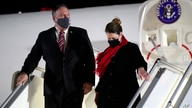 Secretary of State Mike Pompeo and his wife Susan step off a plane at Tbilisi International Airport in Tbilisi, Georgia,…