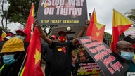 Members of the Tigrayan-Ethiopian community protest against the conflict in the Ethiopia's Tigray region, outside the European…