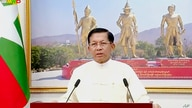 In this image from video broadcast April 18, 2021, over the Myawaddy TV channel, Senior General Min Aung Hlaing, chairman of…