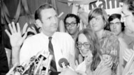 Ramsey Clark, former U.S. attorney general listens to questions from reporters after conceding in his bid for the Democratic…