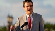 "Congressman Matt Gaetz, R-Fla., speaks at a ""Women for American First"" event  Friday, April 9, 2021, in Doral, Fla. (AP Photo…"