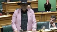 In this image from video, Indigenous New Zealand lawmaker Rawiri Waititi speaks in Parliament in Wellington, New Zealand,…