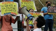 A protester shouts slogans during a rally outside the Chinese consulate in Metro Manila, Philippines on Friday, May 7, 2021…