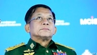 Commander-in-Chief of Myanmar's armed forces, Senior General Min Aung Hlaing delivers his speech at the IX Moscow conference on…
