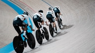 Members of the German men's track cycling team round the track during a training session inside the Izu velodrome at the 2020…