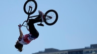Charlotte Worthington of Britain competes in the women's BMX freestyle final at the 2020 Summer Olympics, Sunday, Aug. 1, 2021,…