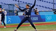 United States' Cat Osterman pitches in the sixth inning of a softball game against Japan at the 2020 Summer Olympics, Monday,…