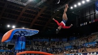 Simone Biles, of the United States, performs on the vault during the artistic gymnastics women's final at the 2020 Summer…