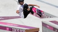 Tony Hawk who is not a competitor, tries out the skate park at the 2020 Summer Olympics, Friday, July 23, 2021, in Tokyo, Japan…