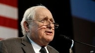 Retiring Sen. Carl Levin, D-Mich., is seen during an election night rally in Detroit, Tuesday, Nov. 4, 2014. (AP Photo/Carlos…