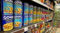 Goya products are pictured in the specialty food isle at a Ralphs grocery store in Pasadena