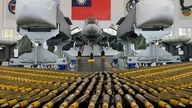 Indigenous Defense Fighter (IDF) fighter jet and missiles are seen at Makung Air Force Base in Taiwan's offshore island of Penghu