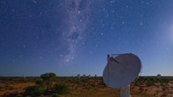 Radio telescopes are seen in Murchison, Western Australia