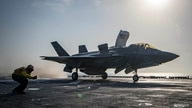 FILE PHOTO: A U.S. Navy handout photo of an F-35B Lightning II aircraft launched aboard the amphibious assault ship USS Essex as part of the F-35B's first combat strike, against a Taliban target in Afghanistan