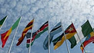 Africa flags are blown in the wind as leaders arrive in Rwanda's capital, Kigali for the opening meeting for New Partnership…
