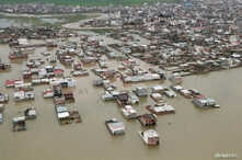 This handout photo from the Iranian president's office shows an aerial view of flooding in Golestan province, Iran, March 27, 2019.