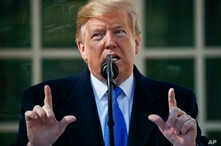 FILE - President Donald Trump declares a national emergency in order to build a wall along the southern border during an event in the Rose Garden at the White House in Washington, Feb. 15, 2019..