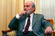 George Blake, seen in this Nov. 15, 2006, is a former British spy and double agent in service of the Soviet Union, seen in Moscow, Russia. Blake, who turns 95 Saturday Nov. 11, 2017 said in a statement carried by the Russian Foreign Intelligence Serv