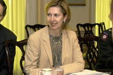 FILE - Deputy Assistant Secretary of Defense for Eurasian Policy, Mira Ricardel takes part in a meeting at the Pentagon in Washington, U.S., October 9, 2003 in this photo obtained November 13, 2018.