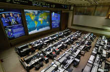 Photo of International Space Station (ISS) crew members Serena Aunon-Chancellor of the U.S., Alexander Gerst of Germany and Sergey Prokopyev of Russia is seen in the Russian Mission Control Center before a news conference on the results of the invest