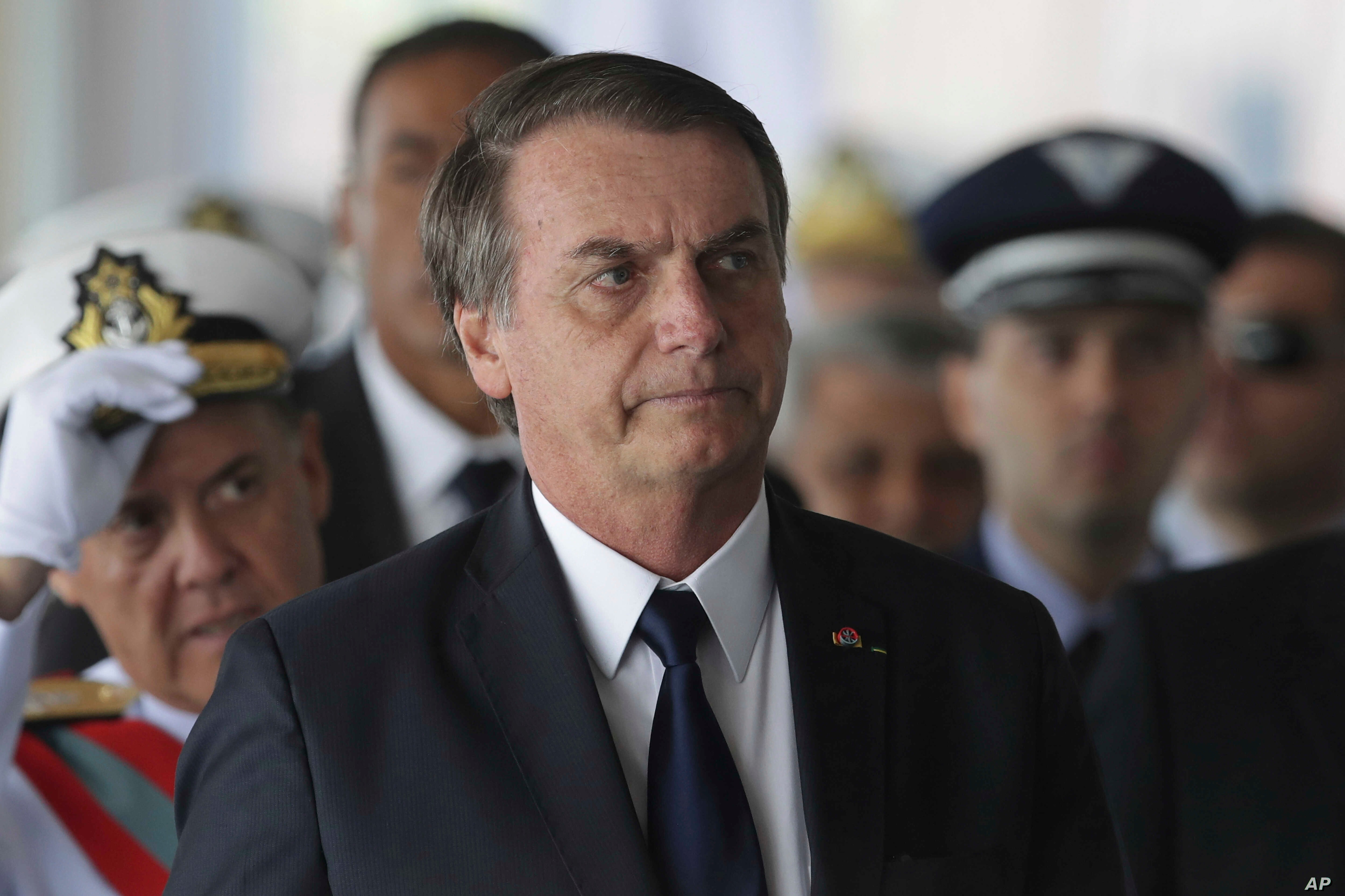 Brazil's President Jair Bolsonaro arrives at the Naval Club in Brasilia, Brazil, Jan. 9, 2019. Overhaul of the costly state pension system is a top priority for the country's new president.