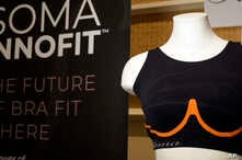 The Soma Innofit bra is displayed at CES International in Las Vegas. The Soma Innofit has four lines of circuitry hooked up to a circuit board in the back, which then connects to an app via Bluetooth, Jan. 8, 2019.