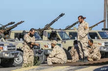 Forces loyal to Libya's U.N.-backed unity government arrive in Tajura, a coastal suburb of the Libyan capital Tripoli, April 6, 2019, from their base in Misrata.