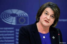 FILE - Northern Irish Democratic Unionist Party leader Arlene Foster holds a news conference at the European Parliament after a meeting with EU Brexit negotiator Michel Barnier in Brussels, Oct. 9, 2018.