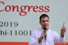 Congress Party president Rahul Gandhi, addresses the media after the release of Congress party's manifesto for the upcoming general elections, in New Delhi, India, Tuesday, April 2, 2019.