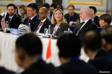 U.S. Under Secretary of State Andrea Thompson, center, delivers her opening remarks during a Treaty on the Non-Proliferation of Nuclear Weapons conference in Beijing of the U.N. Security Council's five permanent members China, France, Russia, the Un