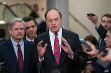 From left, Sen. John Hoeven, R-N.D., Rep. Tom Graves, R-Ga., and Sen. Richard Shelby, R-Ala., the top Republican on the bipartisan group of bargainers working to craft a border security compromise in hope of avoiding another government shutdown, spea