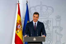 Spain's Prime Minister Pedro Sanchez delivers a statement at the Moncloa Palace in Madrid, Spain, Feb. 15, 2019.