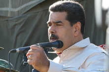 Venezuela's President Nicolas Maduro speaks while he attends a military exercise in Charallave, Venezuela, Feb. 10, 2019.