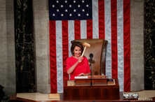 Nancy Pelosi holds the speaker's gavel after being elected speaker as the U.S. House of Representatives meets for the start of the 116th Congress inside the House Chamber on Capitol Hill in Washington, Jan. 3, 2019.